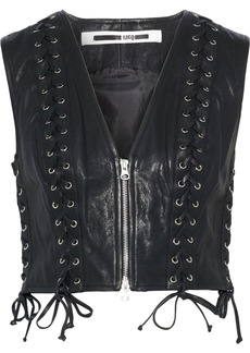 Mcq Alexander Mcqueen Woman Cropped Lace-up Leather Vest Black