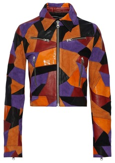 Mcq Alexander Mcqueen Woman Cropped Patchwork Suede And Leather Jacket Orange