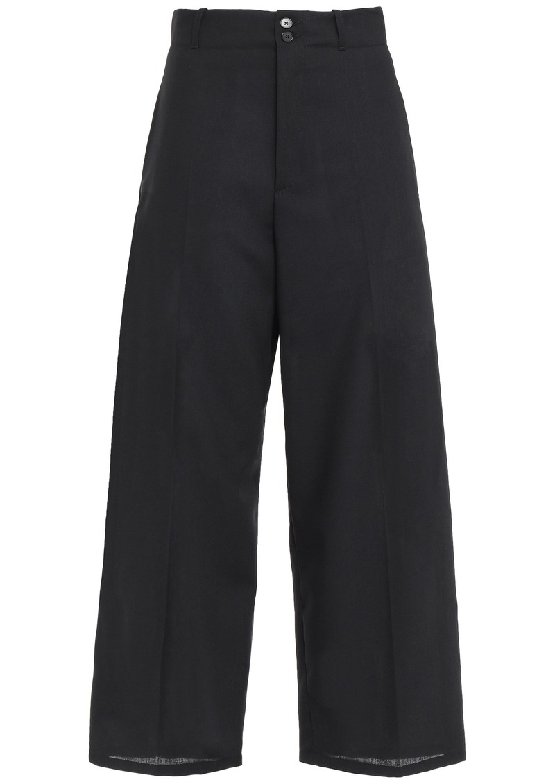 Mcq Alexander Mcqueen Woman Cropped Wool-twill Wide-leg Pants Black