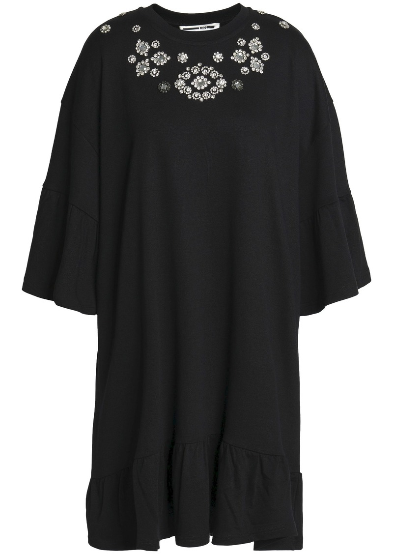Mcq Alexander Mcqueen Woman Crystal-embellished Cotton And Modal-blend Mini Dress Black