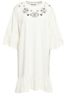 Mcq Alexander Mcqueen Woman Crystal-embellished Cotton-jersey Mini Dress Off-white