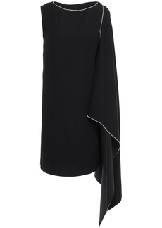 Mcq Alexander Mcqueen Woman Crystal-embellished Draped Cady Mini Dress Black