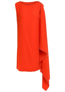 Mcq Alexander Mcqueen Woman Crystal-embellished Draped Cady Mini Dress Tomato Red