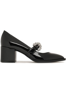 Mcq Alexander Mcqueen Woman Crystal-embellished Patent-leather Mary Jane Pumps Black