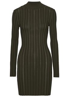 Mcq Alexander Mcqueen Woman Cutout Ribbed-knit Turtleneck Mini Dress Army Green