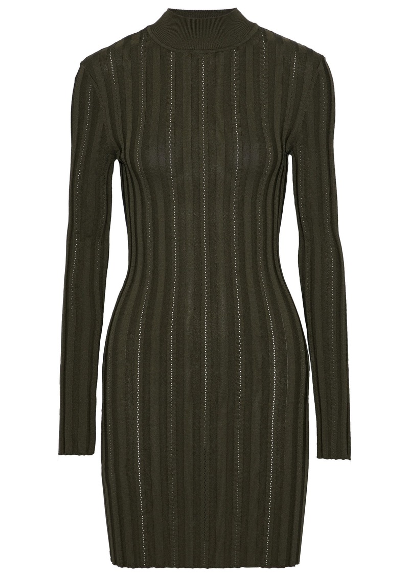 Mcq Alexander Mcqueen Woman Cutout Ribbed-knit Turtleneck Mini Dress Army Green