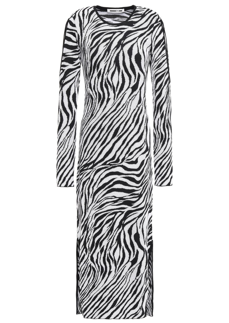 Mcq Alexander Mcqueen Woman Cutout Zebra-print Jacquard-knit Midi Dress Black