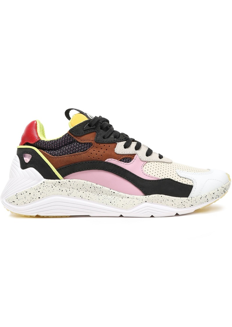 Mcq Alexander Mcqueen Woman Daku Color-block Leather Suede And Mesh Sneakers Multicolor