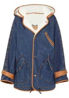 Mcq Alexander Mcqueen Woman Denim And Faux-shearling Jacket Mid Denim