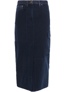 Mcq Alexander Mcqueen Woman Denim-trimmed Cotton-corduroy Midi Pencil Skirt Storm Blue