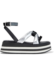 Mcq Alexander Mcqueen Woman Dimension Metallic And Patent-leather Platform Sandals Black