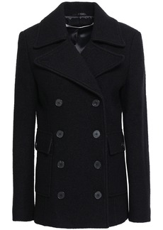 Mcq Alexander Mcqueen Woman Double-breasted Brushed Wool-felt Coat Black