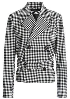 Mcq Alexander Mcqueen Woman Double-breasted Checked Wool-twill Jacket Black