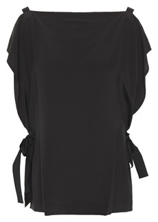 Mcq Alexander Mcqueen Woman Draped Silk Crepe De Chine Top Black