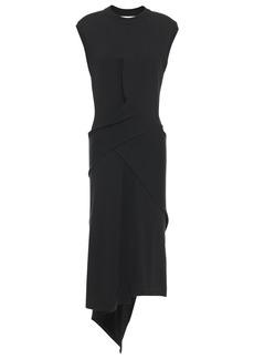 Mcq Alexander Mcqueen Woman Draped Wool-blend Dress Black