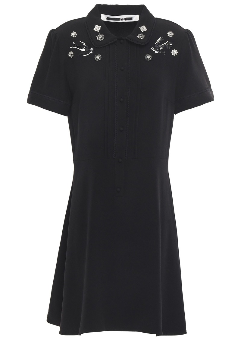 Mcq Alexander Mcqueen Woman Embellished Crepe Mini Dress Black