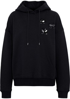 Mcq Alexander Mcqueen Woman Embellished French Cotton-terry Hoodie Black