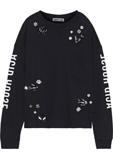 Mcq Alexander Mcqueen Woman Embellished Printed French Cotton And Modal-blend Terry Sweatshirt Black