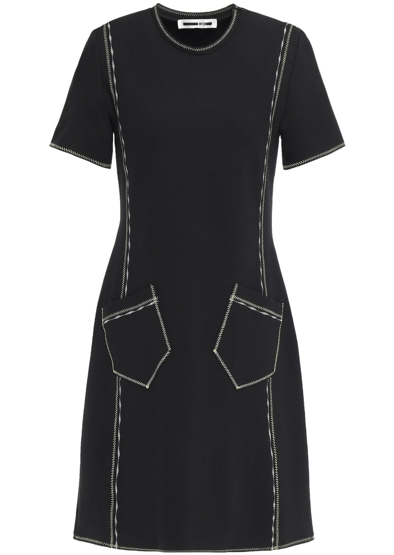 Mcq Alexander Mcqueen Woman Embroidered Jersey Mini Dress Black