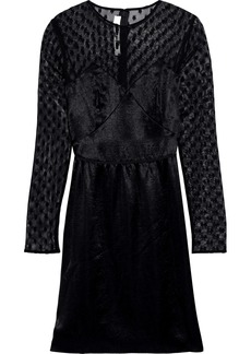 Mcq Alexander Mcqueen Woman Embroidered Mesh-paneled Satin Mini Dress Black