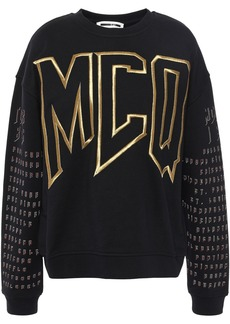 Mcq Alexander Mcqueen Woman Embroidered Printed French Cotton-terry Sweatshirt Black