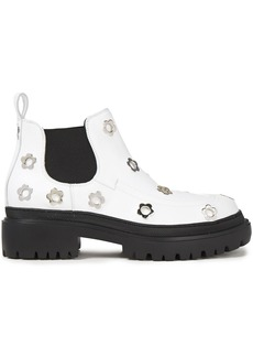 Mcq Alexander Mcqueen Woman Eyelet-embellished Leather Chelsea Boots White