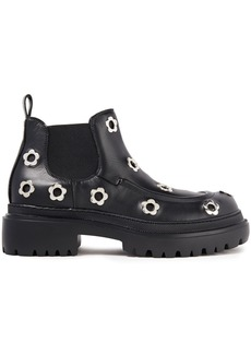 Mcq Alexander Mcqueen Woman Eyelet-embellished Leather Chelsea Boots Black