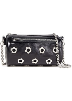 Mcq Alexander Mcqueen Woman Eyelet-embellished Textured Patent-leather Shoulder Bag Black