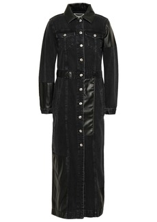 Mcq Alexander Mcqueen Woman Faux Leather-paneled Denim Coat Black