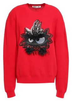 Mcq Alexander Mcqueen Woman Feather-trimmed Appliquéd Cotton Sweater Red