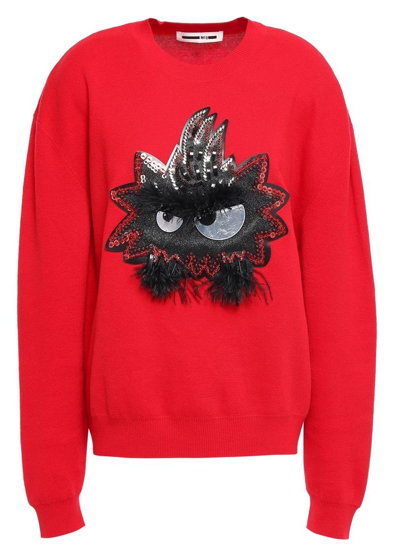Mcq Alexander Mcqueen Woman Feather-trimmed Appliquéd Cotton Sweater Red