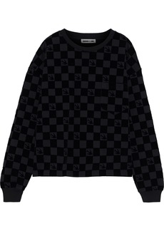 Mcq Alexander Mcqueen Woman Flocked French Cotton-blend Terry Sweatshirt Black