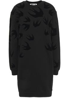 Mcq Alexander Mcqueen Woman Flocked French Cotton-terry Mini Dress Black