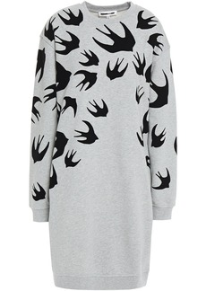 Mcq Alexander Mcqueen Woman Flocked French Cotton-terry Mini Dress Stone