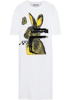 Mcq Alexander Mcqueen Woman Flocked Printed Cotton-jersey Dress White