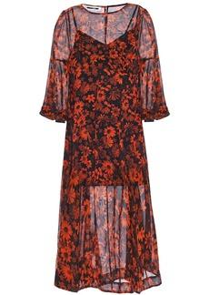 Mcq Alexander Mcqueen Woman Floral-print Silk-georgette Midi Dress Black