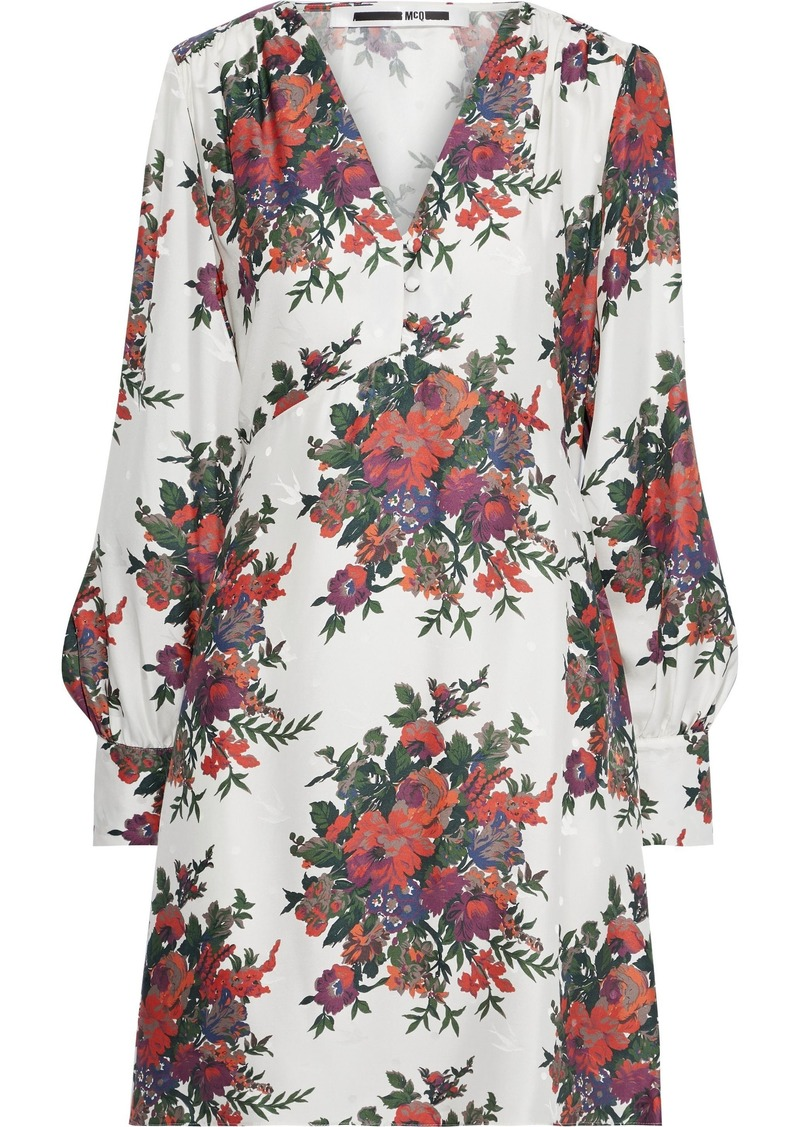 Mcq Alexander Mcqueen Woman Floral-print Silk-jacquard Mini Dress Ivory