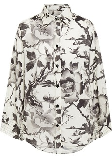 Mcq Alexander Mcqueen Woman Floral-print Washed Crepe De Chine Shirt Ivory