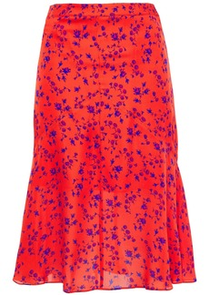 Mcq Alexander Mcqueen Woman Fluted Floral-print Silk Crepe De Chine Skirt Tomato Red