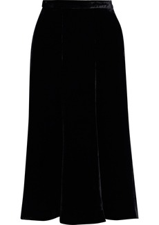 Mcq Alexander Mcqueen Woman Fluted Velvet Midi Skirt Black