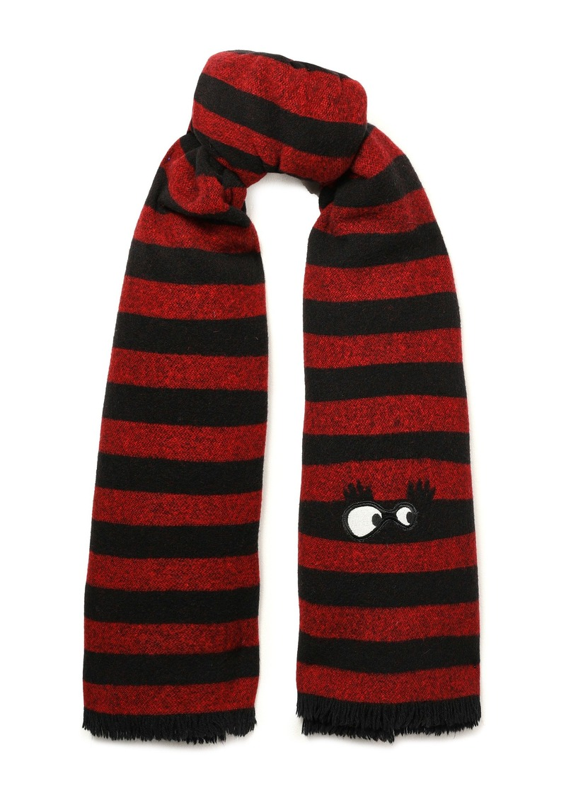 Mcq Alexander Mcqueen Woman Appliquéd Striped Brushed-wool Scarf Red