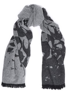 Mcq Alexander Mcqueen Woman Frayed Brushed Jacquard-knit Wool-blend Scarf Gray