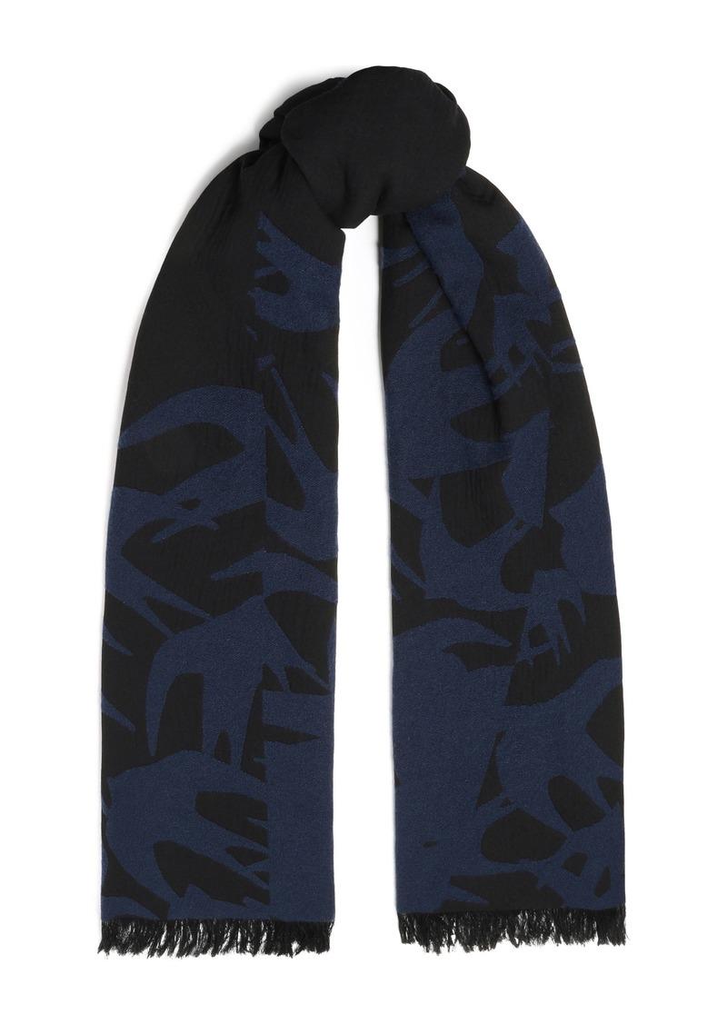 Mcq Alexander Mcqueen Woman Frayed Jacquard-knit Scarf Navy
