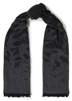Mcq Alexander Mcqueen Woman Frayed Jacquard-knit Wool-blend Scarf Charcoal
