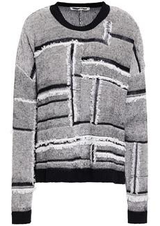 Mcq Alexander Mcqueen Woman Frayed Patchwork-effect Linen And Cotton-blend Sweater Black