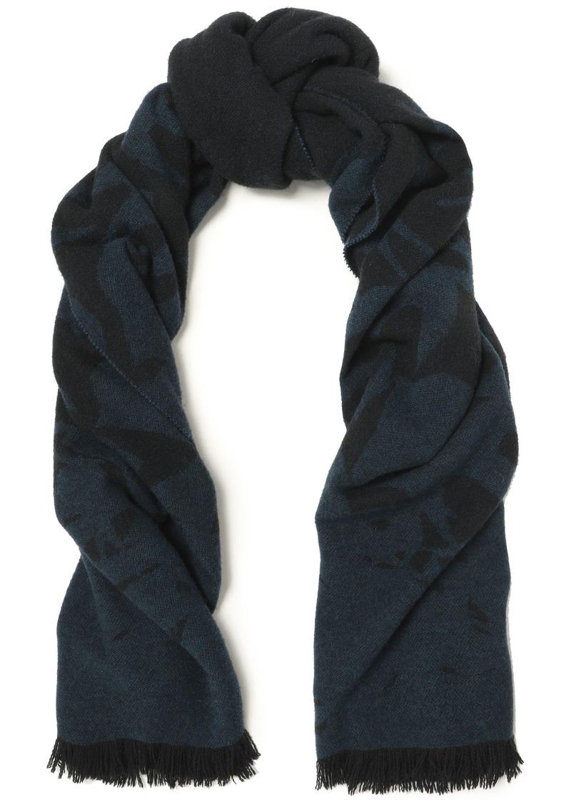 Mcq Alexander Mcqueen Woman Frayed Wool-blend Jacquard Scarf Storm Blue