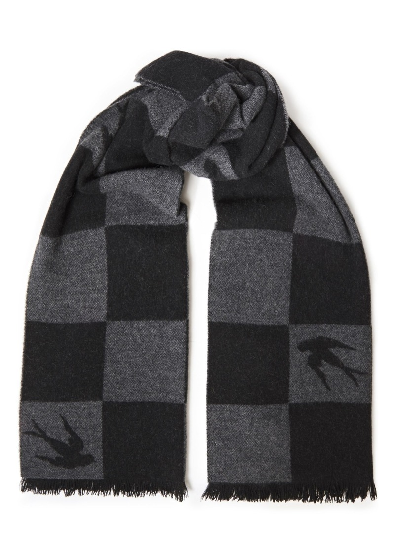 Mcq Alexander Mcqueen Woman Fringe-trimmed Checked Wool-blend Jacquard Scarf Black