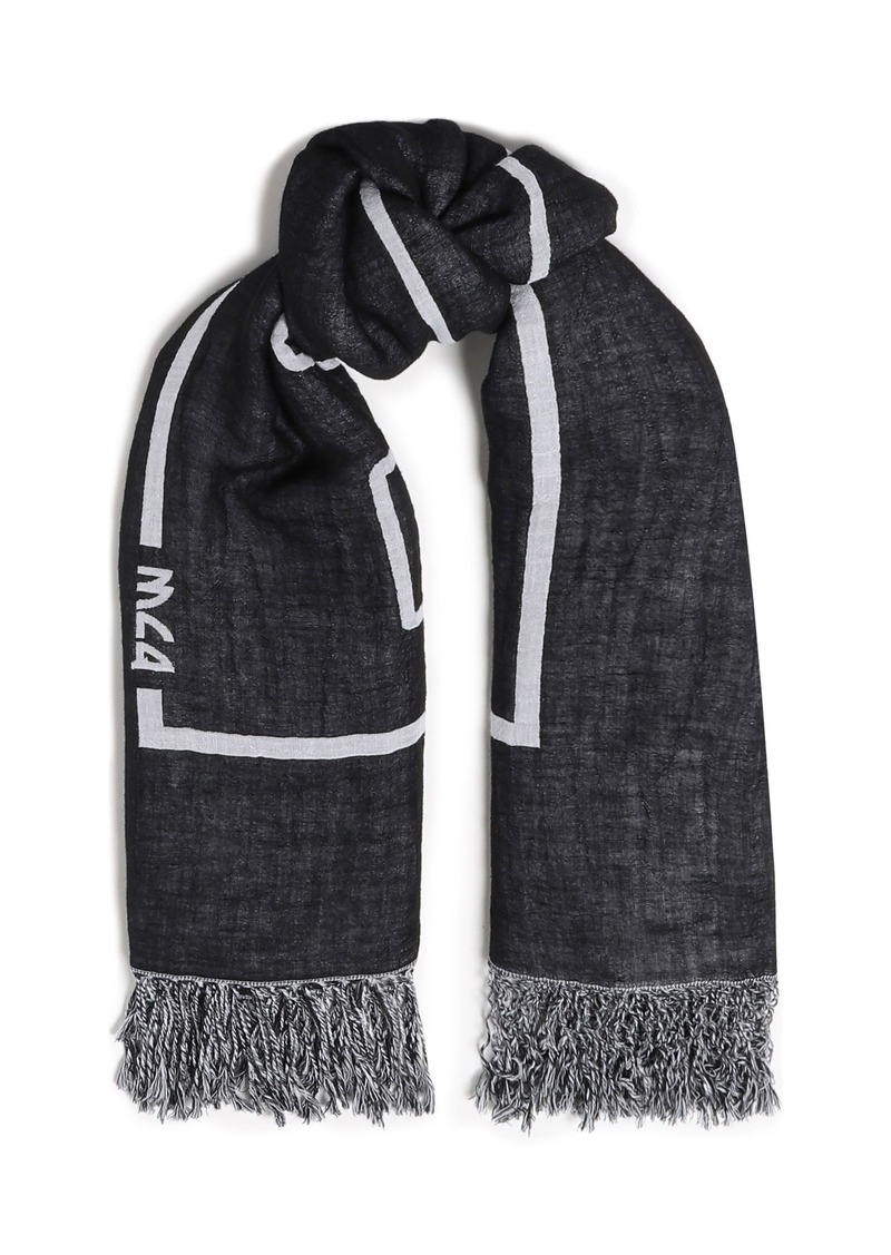 Mcq Alexander Mcqueen Woman Fringe-trimmed Printed Cotton And Linen-blend Scarf Black