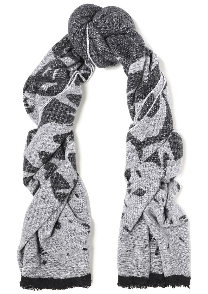 Mcq Alexander Mcqueen Woman Fringe-trimmed Wool-blend Jacquard Scarf Dark Gray