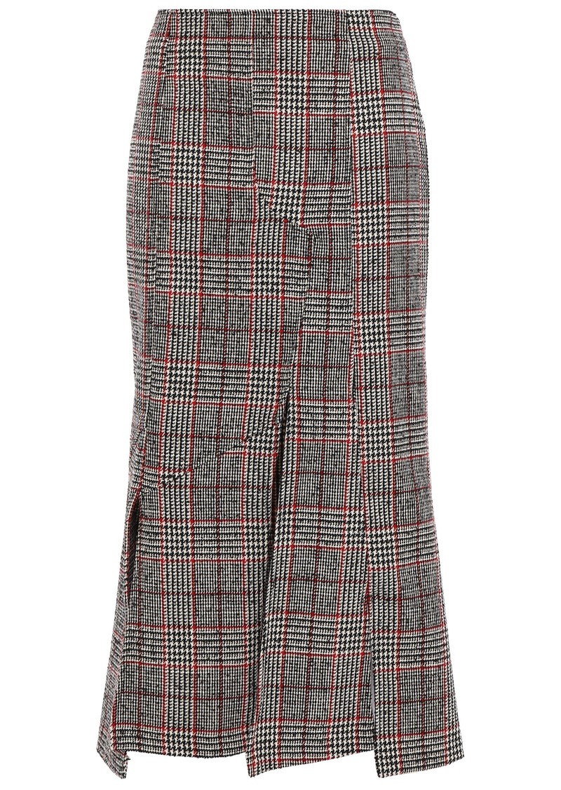 Mcq Alexander Mcqueen Woman Fringed Prince Of Wales Checked Wool-blend Midi Skirt Gray